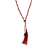 COLLIER POMPON ROUGE