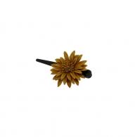 Petite Pince à cheveux fleur cuir camel