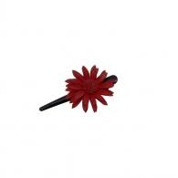 Petite Pince à cheveux fleur cuir rouge