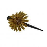 Pince à cheveux fleur margot cuir camel