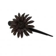 Pince à cheveux fleur margot cuir chocolat