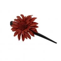 Pince à cheveux fleur margot cuir orangé