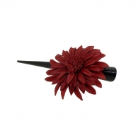 Pince à cheveux fleur margot cuir rouge