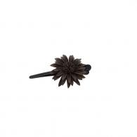 Petite Pince à cheveux fleur cuir chocolet