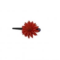 Petite Pince à cheveux fleur cuir orangé