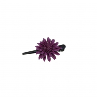 Petite Pince à cheveux fleur cuir pourpre