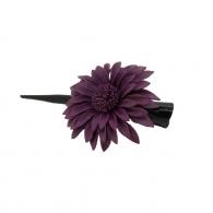 Pince à cheveux fleur margot cuir pourpre